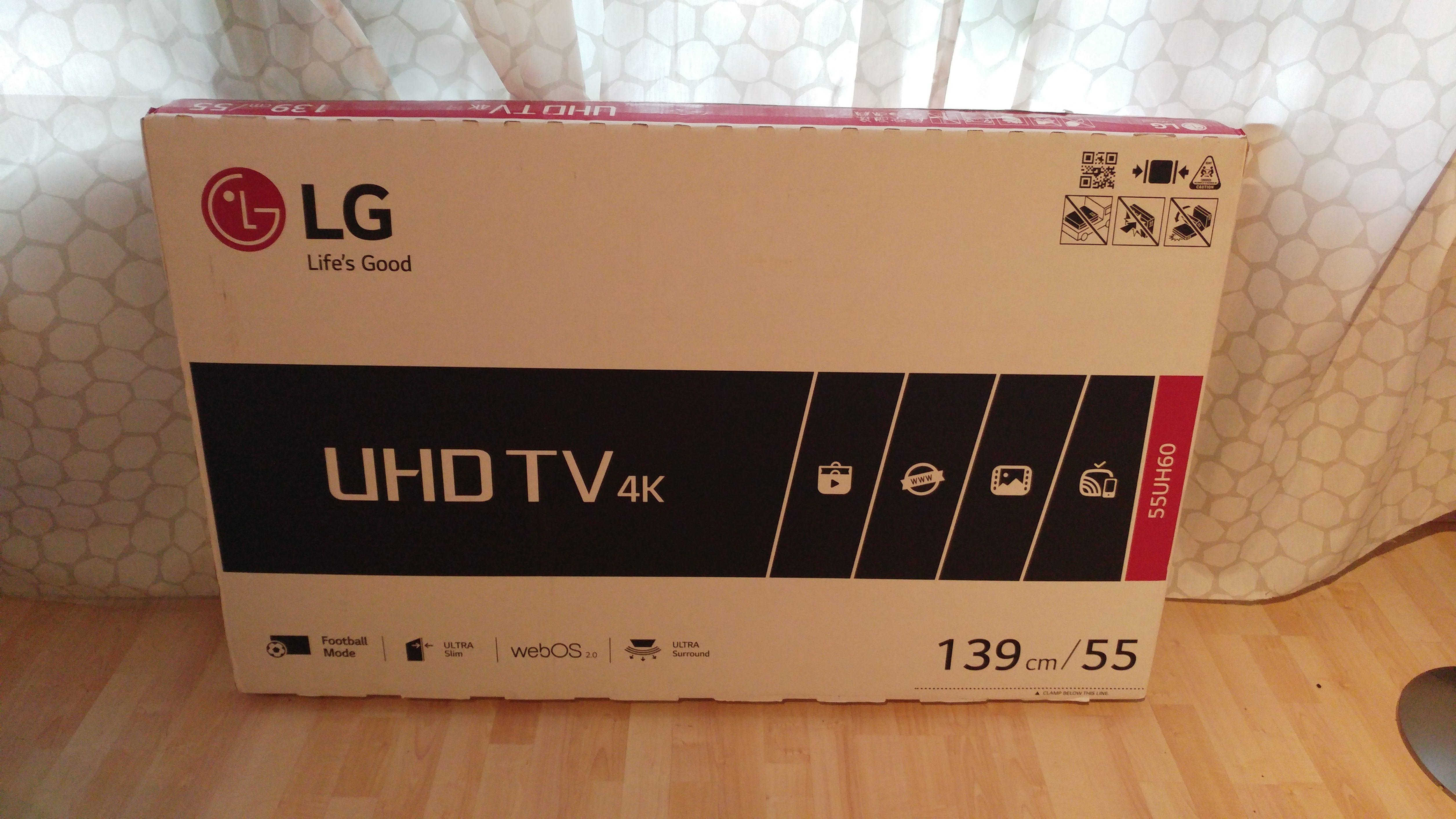Der LG 55UH600V noch in seiner Verpackung. Gut verpackt angekommen bei uns